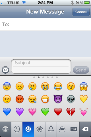 Get Emoticons on your iPhone without any Apps